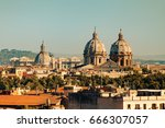 aerial view to rome city. italy ... | Shutterstock . vector #666307057