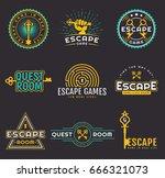 set of quest room logos... | Shutterstock .eps vector #666321073