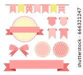 collection of pink color... | Shutterstock .eps vector #666321247