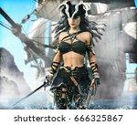portrait of a pirate female... | Shutterstock . vector #666325867