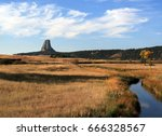 devils tower  also know as bear ... | Shutterstock . vector #666328567