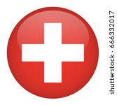 switzerland flag button | Shutterstock .eps vector #666332017