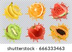 Orange, kiwi fruit, banana, tomato, watermelon, papaya juice. Fresh fruits and splashes, 3d vector icon set.