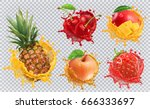 Pineapple, strawberry, apple, cherry, mango juice. Fresh fruits and splashes, 3d vector icon set | Shutterstock vector #666333697