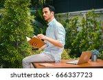 botanist man reading book and... | Shutterstock . vector #666337723