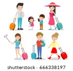 set characters family travelers.... | Shutterstock .eps vector #666338197