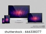 realistic computer  laptop ... | Shutterstock .eps vector #666338377