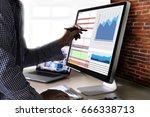 work hard data analytics...   Shutterstock . vector #666338713