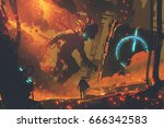 sci fi concept of man looking... | Shutterstock . vector #666342583