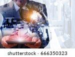 industry 4.0    concept  of man ... | Shutterstock . vector #666350323