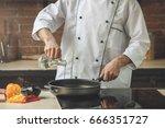 mature man professional chef... | Shutterstock . vector #666351727