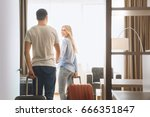 young couple travel together... | Shutterstock . vector #666351847