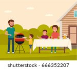 happy family preparing a... | Shutterstock .eps vector #666352207
