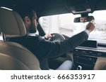 young business man test drive... | Shutterstock . vector #666353917