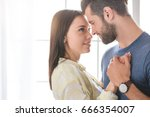 young family couple together at ... | Shutterstock . vector #666354007