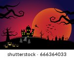 halloween pumpkins and a flying ... | Shutterstock .eps vector #666364033