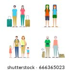 types of tourists and... | Shutterstock .eps vector #666365023