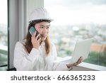 asian woman is engineer and... | Shutterstock . vector #666365233