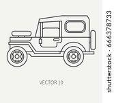 line flat vector hunt and... | Shutterstock .eps vector #666378733