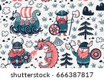 seamless pattern with three... | Shutterstock .eps vector #666387817