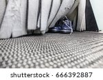 the conveyor of the shoe...   Shutterstock . vector #666392887