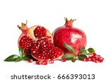 whole pomegranate and two parts ... | Shutterstock . vector #666393013