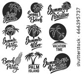 set of summer emblems with palm ... | Shutterstock .eps vector #666395737