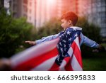 patriotic holiday. happy kid ... | Shutterstock . vector #666395833