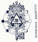 masonic eye and key tattoo... | Shutterstock .eps vector #666397777