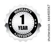 1 year warranty silver label ...   Shutterstock .eps vector #666400567
