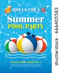 pool party invitation poster... | Shutterstock .eps vector #666405583