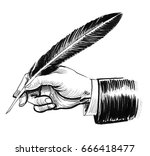 hand with a quill | Shutterstock . vector #666418477
