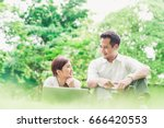 young asian lovely couple or... | Shutterstock . vector #666420553