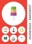flat icon season set of yacht ... | Shutterstock .eps vector #666426037