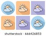 outlined icon of sun with... | Shutterstock .eps vector #666426853