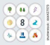 flat icon nature set of tree ... | Shutterstock .eps vector #666427573