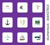 flat icon beach set of... | Shutterstock .eps vector #666427813