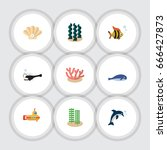 flat icon nature set of seafood ... | Shutterstock .eps vector #666427873