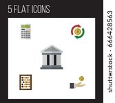 flat icon incoming set of bank  ... | Shutterstock .eps vector #666428563
