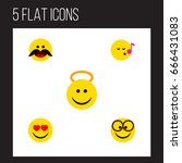 flat icon expression set of... | Shutterstock .eps vector #666431083