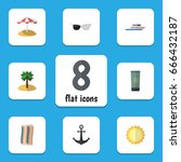 flat icon summer set of wiper ... | Shutterstock .eps vector #666432187