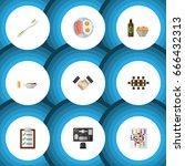 flat icon oneday set of dental  ... | Shutterstock .eps vector #666432313