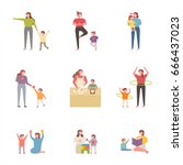 mom and children various plays... | Shutterstock .eps vector #666437023