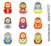 russian doll matryoshka vector... | Shutterstock .eps vector #666437077
