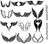 set of tattoo wings | Shutterstock .eps vector #666439987