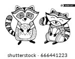 raccoons isolated  cartoon... | Shutterstock .eps vector #666441223