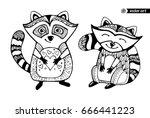 raccoons isolated  cartoon... | Shutterstock .eps vector #666441223