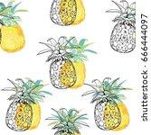 pineapple pattern  vector ...   Shutterstock .eps vector #666444097