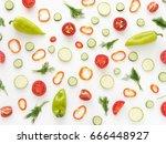 vegetables on a white... | Shutterstock . vector #666448927