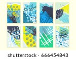universal abstract posters set. ... | Shutterstock .eps vector #666454843